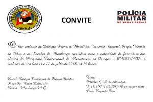 PM convida para formatura do Proerd dias 11 e 12/07