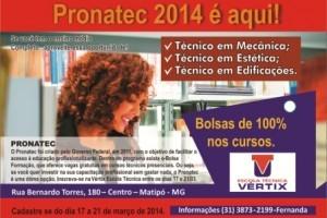 Pronatec: Vértix oferece cursos técnicos gratuitos em Mecânica, Estética e Edificações