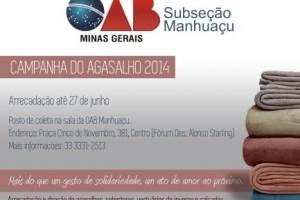 Manhuaçu: OAB lança campanha do agasalho 2014. Até 27 de junho