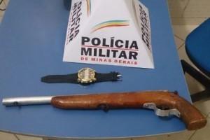 Manhuaçu – PM apreende menores e arma utilizada em roubo a posto combustível