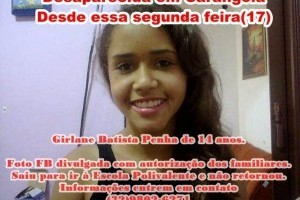 Carangola: Jovem de 14 anos está desaparecida