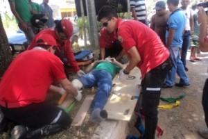 Caratinga: Acidente na BR 116 deixa motociclista com perna fraturada
