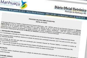 Manhuaçu: Prefeitura lança diário oficial eletrônico