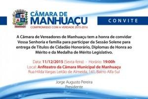 Manhuaçu: Vereadores prestarão homenagens a pessoas e entidades nesta sexta-feira