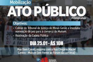 OAB Manhuaçu realizará ato público contra a falta de juiz em Mutum