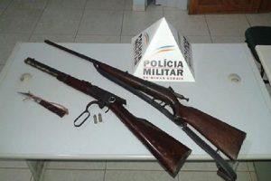 Mutum: PM apreende rifle e espingarda na zona rural