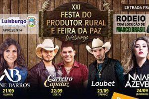 Luisburgo: XXI Festa do Produtor Rural de Feira da Paz começa nesta quinta