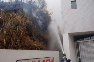 Bombeiros apagam incêndio em vegetação na Avenida Salime Nacif