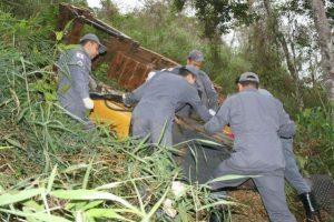 Manhuaçu: Trator cai em ribanceira e mata tratorista