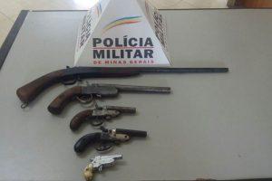Alto Caparaó: Polícia Militar apreende cinco armas de fogo