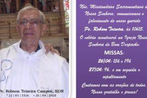 Morre o Missionário Sacramentino Pe. Robson Teixeira Campos