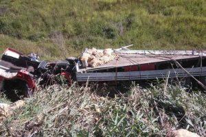 Caminhão cai em ribanceira entre Manhuaçu e Reduto. Motorista morre