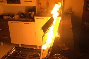 Simonésia: Mangueira de botijão de gás explode e causa incêndio