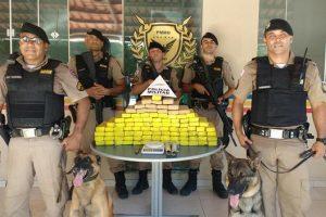PM localiza 94 tabletes (61 quilos) de maconha em Manhuaçu