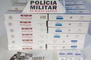 Manhuaçu: PM prende autor e apreende arma de fogo e material ilícito