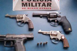 Manhuaçu: PM apreende quatro armas de fogo no bairro Matinha