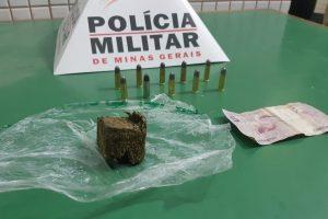 Região: PM apreende droga, munições e prende suspeito