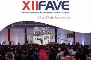Univértix organiza o 12º Fórum Acadêmico (FAVE) 2019. De 23 a 27/09