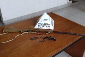 PM retira duas armas de fogo de circulação e prende autor de ameaças