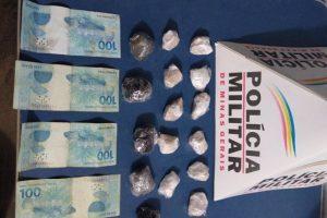Manhuaçu: PM apreende drogas e dinheiro no bairro Santa Terezinha