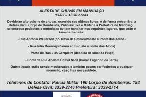 Manhuaçu: Trânsito em ruas alagadas deve ser evitado