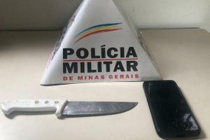 Em ação rápida PM prende autor, apreende faca e recupera celular roubado