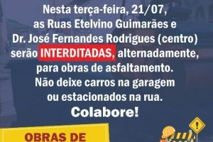 Ruas do Centro serão interditadas nesta terça-feira, 21/07