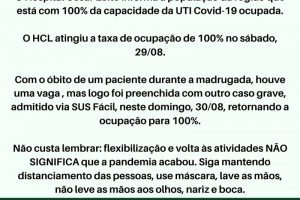 Covid-19: HCL divulga alerta para falta de leitos