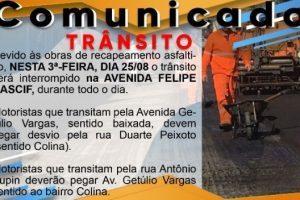 Rua Felipe Nacif interditada na região da Baixada