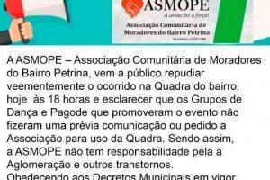 Associação de Moradores da Petrina informa que não sabia sobre festa na quadra do bairro