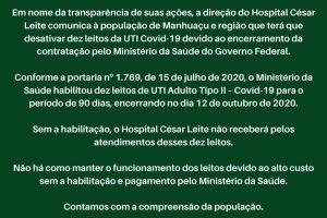 Hospital César Leite vai desativar 10 leitos de UTI-Covid-19; Saiba o motivo