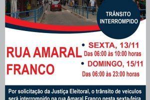 Trânsito será fechado no Centro a pedido da Justiça Eleitoral