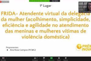 Atendente virtual FRIDA fatura 1º lugar no 5º Prêmio Inova 2020