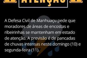 Defesa Civil emite alerta de chuva intensa em Manhuaçu