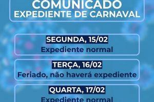 Servidores públicos municipais não terão feriado prolongado do Carnaval