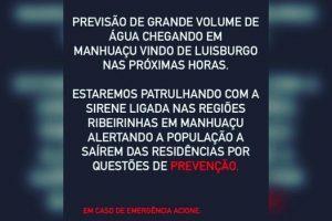 PM emite alerta para risco grande de enchente em Manhuaçu