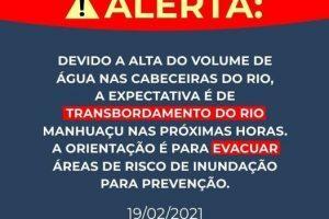 Defesa Civil também alerta população para cheia do Rio Manhuaçu