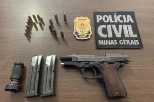 Acusado de violência doméstica é preso; Armas apreendidas pela PC