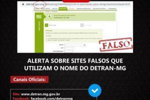 Detran/MG alerta para golpes por meio de falso site