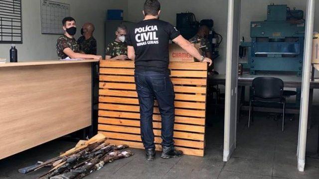 Armas apreendidas são encaminhadas para a Polícia Federal