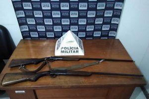 Espingardas são apreendidas pela PM em Manhuaçu