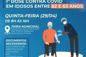 Covid-19: Manhuaçu vacinará idosos de 62/63 anos para esta quinta, 29/04