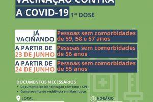 Manhuaçu avança na vacina contra a Covid-19 (56 e 55 anos)