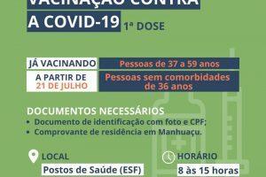 Manhuaçu vacinará pessoas de 36 anos contra Covid-19 hoje, 21/07