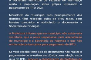Prefeitura alerta para o golpe do IPTU falso em Manhuaçu