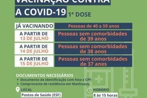 Covid-19: Vacinação de pessoas de 39 a 37 anos em Manhuaçu