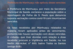 Prefeitura de Manhuaçu não aplicou doses vencidas contra Covid-19