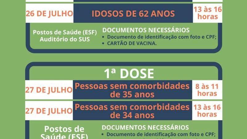 Covid-19: Pessoas de 35 e 34 anos serão vacinadas na próxima semana em Manhuaçu