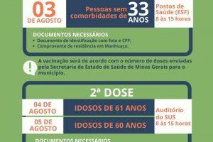 Pessoas de 33 anos serão vacinadas contra a Covid-19 nesta terça-feira em Manhuaçu