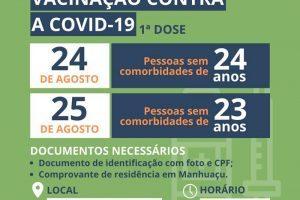 Manhuaçu: Pessoas de 24/23 anos serão vacinadas contra a Covid-19 nesta 3ª e 4ª feiras